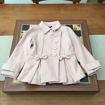 Bardot Junior Pink Jacket Blazer Size 2 Bows Buttons Pleated