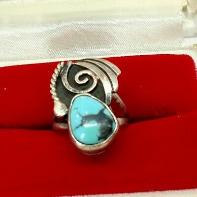 VTG Sterling Silver Turquoise Ring Signed Ahasteen Sz.5.5 C22