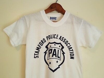 True Vintage~1950s 60s T-Shirt Child Large-Adult XXS -Stamford Police-Boys~White
