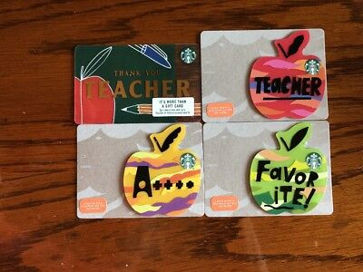 1 Set Of 4 NEW STARBUCKS 2018 TEACHER GIFT CARDS  APPLE DIE CUT SHAPED LIMITED