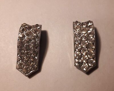 vintage  shoe clips in silver tone and diamante