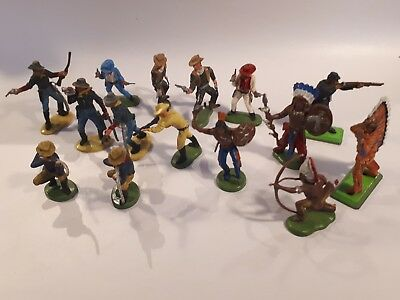 15x Vintage Britains  cowboys and Indians (mixed lot)