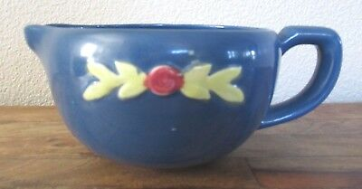 "Coors Pottery Rosebud Blue Handled Medium Batter Bowl 10.25"" x 6.75"" x 4.5"""