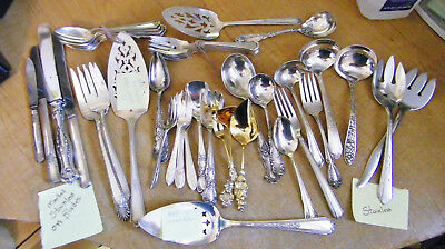 Vintg Mixed Lot of 48 Silver Plated Serving Pieces,Wallace,Rogers,various makers