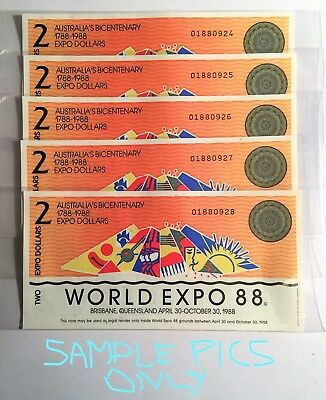 5 x CONSECUTIVE NUMBERED 1988 $2.00 BRISBANE WORLD EXPO NOTES IN SLEEVES, CH UNC