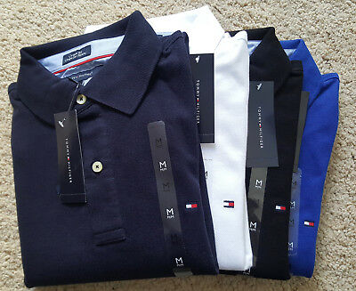 Tommy Hilfiger Custom Fit Short Sleeve Mens Polo Shirt - Black Navy White Blue