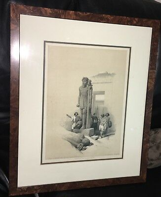 Egypt Antique Lithograph Haghe Roberts Temple Statue Nubia Africa Wady Saboua