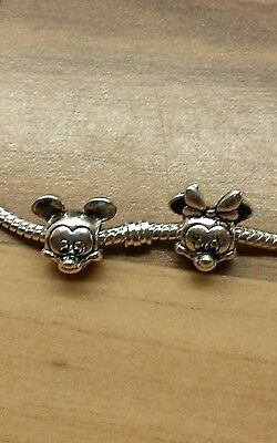 Echtschmuck Bettelarmband Anhänger Disney mickey and minnie Mouse Charms Stamped S925