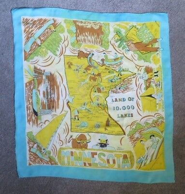 "VTG Souvenir Scarf Minnesota 26"" X 29"" aqua yellow orange map fishing PaulBunyan"