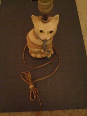 "Carved Wood Cat 13"" Table Lamp"