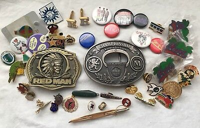 Vintage JUNK DRAWER LOT Collectible Mens Belt Buckles ,military, Pin And More