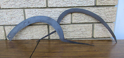 2 Antique, Rustic Hand Scythes. Both Made In England.  No Handles.  Collectible