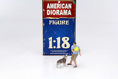 Man with Dog Figure Set 1:18 American Diorama