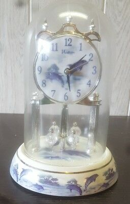 Waltham anniversary clock dolphins with glass dome crystal pendulum balls