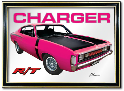 Bar Mirror Valiant Rt Charger Plum Auto Collectable Sign Art Metal