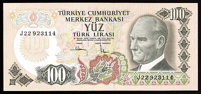 TURKEY- 100 LIRA  BANKNOTE (1972 ISSUE) PICK-189a CRISP XF.-AU.