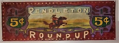 Vintage Hand Painted PENDLETON ROUND UP Banner, Canvas, Brass Studs, excellent