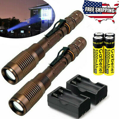 90000Lumens Police Tactical T6 LED 5 Modes 18650 Flashlight Torch Zoomable USA