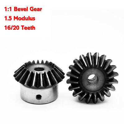 2Pcs 1:1 Bevel Gear 1.5 Modulus 16/20 Teeth ID= 6mm/8mm/10mm/12mm 90 Degree