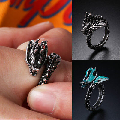 In The Dark Male Gift Ancient Silver Luminous Opening Dragon Ring Adjustable