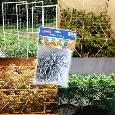 Elastic Net 60cm-1.5m Trellis Netting with 4 Steel Hooks for Grow Tents Garden