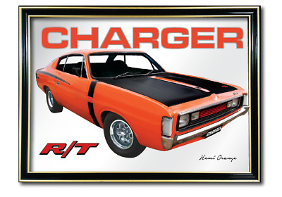 Bar Mirror Valiant Rt Charger Hemi Orange Auto Collectable Sign Art Metal