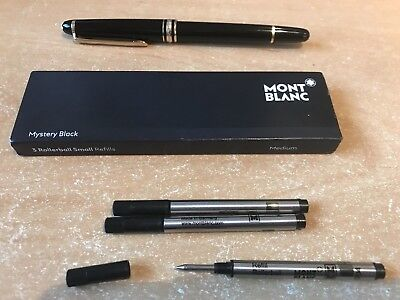 MONT BLANC Rollerball small PEN REFILLS AUTHENTIC 3 pack Medium Mystery Black