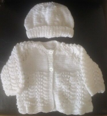 Hand Knitted Babies Matinee Jacket And Hat