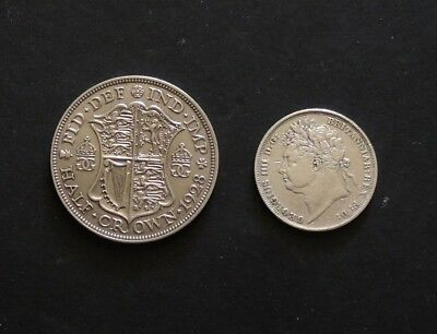 English 1824 Shilling & 1928 Half crown silver Coins.