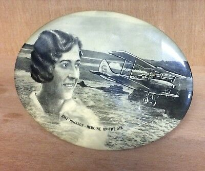 C1930 Amy Johnson Souvenir Plaque Picture, Celluloid? On Stand English Aviator