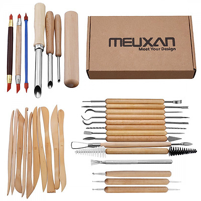 31PCS Clay Wax Carving Pottery Sculpting Set Tools Shapers Polymer Modeling DIY