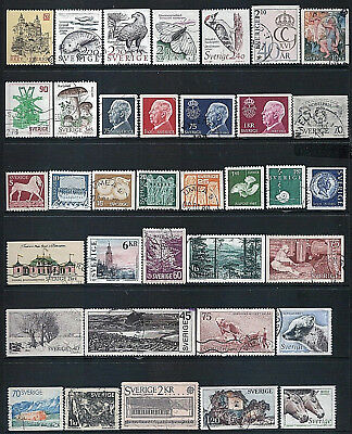 SWEDEN - Mixed lot of 36 Stamps, most Good - Fine Used, LH