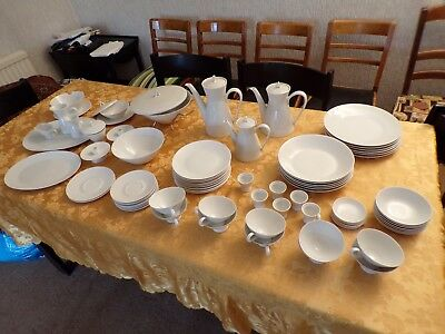 75 piece vintage Rosenthal dinnerware set, Style 2000 White, from about 1960