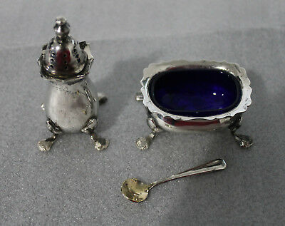 Strachan Vintage Silver Plate Salt Cellar And Pepper Pot (With Original Spoon)