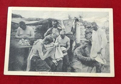GERMAN WWI Prussian FELDPOST LETTER POSTCARD soldiers in trenches 1915 rare #1