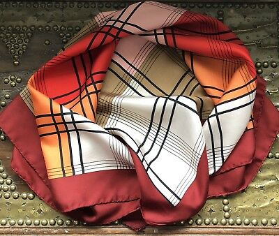 Smart Vintage Check Large Silk Scarf Hand Rolled Hems