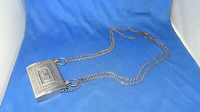 Islamic Middle Eastern Box & Chain 19Th Century?? Unmarked Silver/plate??