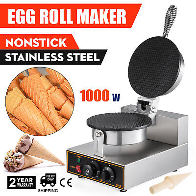 110V Electric Commercial Nonstick Ice Cream Waffle Cone DIY Egg Roll Maker