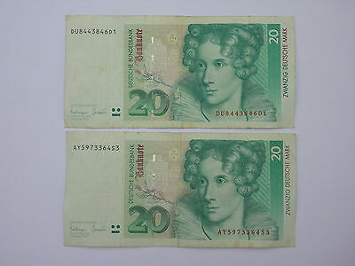 2 x German 20 Deutschmark notes - 1993 version
