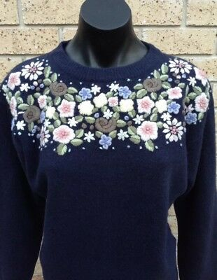 Vintage 100% PURE WOOL Beautiful Warm Jumper Hand Embroidered Flowers Navy Blue