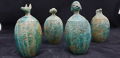 Ancient Egyptian Antique Canopic Jars Sons Of Horus Rare Egypt Carved Stone BC