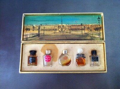 Vintage RETRO set of 5 Miniature French Perfume sample bottles original box