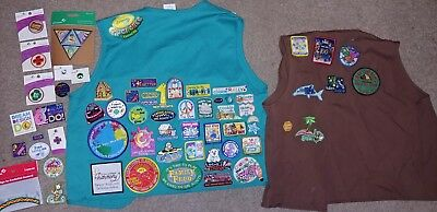 Girl Scout Lot 2 Vests And Loose Patches Lot