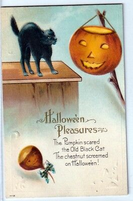 Halloween Vintage Pc~Early View Halloween Pleasure~Jol, Black Cat, Fantasy Acorn