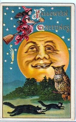 Halloween Vintage Pc~Early View ~Huge Man In The Moon~Witch,owl,black Cats