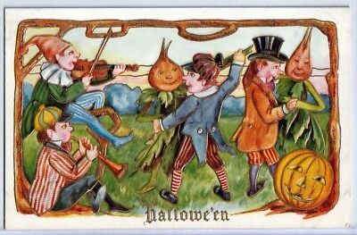 Halloween Vintage Pc~Early View~Children Play Music And Dance With Fantasy Creat