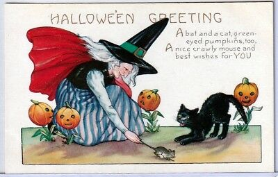 Halloween Vintage Pc~Early View~Whitney Witch Catches Mouse With Black Cat