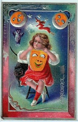 Halloween Vintage Pc~Early View~Girl With Jols,owl,cat,witch And Mask