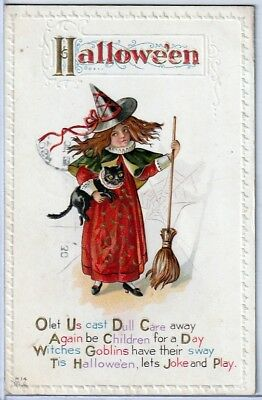 Halloween Vintage Pc~1912 View Little Red Witch With Cat And Broom