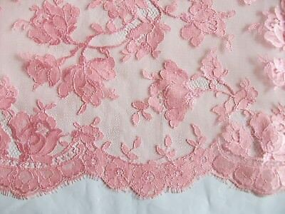 """Vintage 36"""" Pink Embroidered Net Lace Alencon Floral Fabric ~ 3+ Yards"""